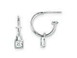 Sterling Silver Square Cubic Zirconia Dangle Hoop Earrings style: QE180