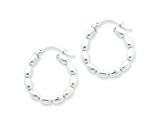 Sterling Silver Polished Beaded Hoop Earrings style: QE1972
