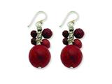 Sterling Silver Faceted Red Jasper and 14mm Red Coral Earrings style: QE2134