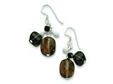 "Sterling Silver Smokey/black Quartz, Howlite And Laser-cut Bead Earrings"" style: QE2182"