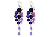 Sterling Silver Amethyst Combination/purple Crystal  Earrings style: QE2315