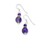 Sterling Silver Amethyst Antiqued Earrings style: QE2318