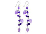 Sterling Silver Amethyst Leaves Dangle Earrings style: QE2322