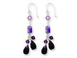 Sterling Silver Amethyst/lavender Quartz/crystal Combination Earrings style: QE2348