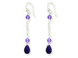 Sterling Silver Amethyst Dangle Earrings style: QE2352