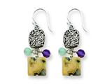 Sterling Silver Antiqued Amethyst/green Agate/jasper Earrings style: QE2383