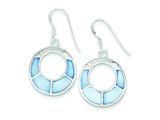 Sterling Silver Blue Shell Hoop Earrings style: QE2617