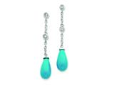 Sterling Silver Turquoise And Clear Cubic Zirconia Dangle Earrings style: QE2630