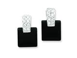 Sterling Silver Cubic Zirconia And Onyx Earrings style: QE2741