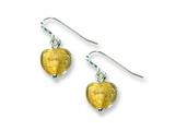 Sterling Silver Yellow Murano Glass Heart Earrings style: QE2872