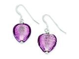 Sterling Silver Pink Murano Glass Bead Heart Earrings style: QE2875