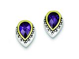 Sterling Silver And Vermeil Purple Cubic Zirconia Earrings style: QE2905