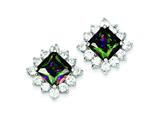 Sterling Silver Mystic And Clear Cubic Zirconia Earrings style: QE2946
