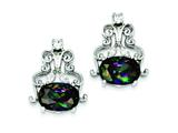 Sterling Silver Mystic And Clear Cubic Zirconia Earrings style: QE2947