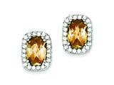 Sterling Silver Champagne Cubic Zirconia Earrings style: QE2952