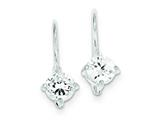 Sterling Silver Cubic Zirconia Leverback Earrings style: QE295