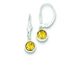 Sterling Silver Citrine Leverback Earrings style: QE3050