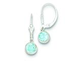 Sterling Silver Blue Topaz Leverback Earrings style: QE3051