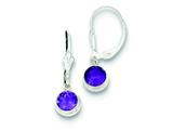 Sterling Silver Amethyst Leverback Earrings style: QE3054