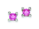 Sterling Silver Pink and Clear Cubic Zirconia Earrings style: QE3085