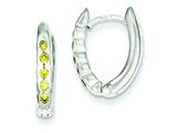 Sterling Silver Yellow Cubic Zirconia Hinged Hoop Earrings style: QE3090