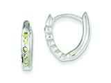 Sterling Silver Green Cubic Zirconia Hinged Hoop Earrings style: QE3092
