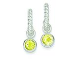 Sterling Silver Twist Hoops W/round Bezel Yellow Cubic Zirconia Earrings style: QE3107