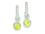 Sterling Silver Twist Hoops W/round Bezel Yellow Cubic Zirconia Earrings style: QE3107