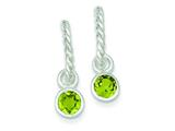 Sterling Silver Twist Hoops W/round Bezel Green Cubic Zirconia Earrings style: QE3109