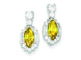 Sterling Silver Yellow And Clear Cubic Zirconia Earrings style: QE3132