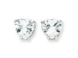 Sterling Silver Heart Cubic Zirconia Stud Earrings style: QE313