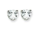 Sterling Silver Heart Cubic Zirconia Stud Earrings style: QE314