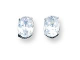 Sterling Silver 6x7mm Oval Cubic Zirconia Stud Earrings style: QE3165