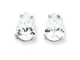 Sterling Silver Pear Cubic Zirconia Stud Earrings style: QE318