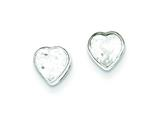 Sterling Silver 5mm Cubic Zirconia Heart Bezel Stud Earrings style: QE3261