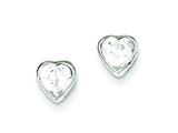 Sterling Silver 6mm Cubic Zirconia Heart Bezel Stud Earrings style: QE3262