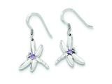 Sterling Silver Purple Cubic Zirconia Dragonfly Earrings style: QE3272