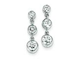 Sterling Silver Bezel Set 3 Stone Cubic Zirconia Dangle Earrings style: QE3278