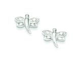 Sterling Silver Cubic Zirconia Dragonfly Post Earrings style: QE3346