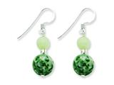 Sterling Silver Green Moss Agate and Green Quartz Earrings style: QE4253