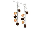 Sterling Silver Brown and Champagne Cubic Zirconia Post Earrings style: QE4325