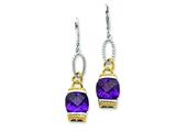 Sterling Silver Vermeil Purple Cubic Zirconia Earrings style: QE4335