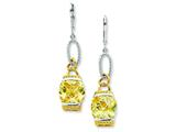 Sterling Silver Vermeil Light Yellow Cubic Zirconia Earrings style: QE4336