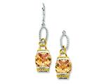 Sterling Silver Vermeil Champagne Cubic Zirconia Dangle Earrings style: QE4337