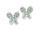Sterling Silver Cubic Zirconia Butterfly Earrings style: QE4749