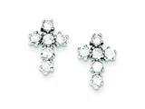Sterling Silver Cubic Zirconia Cross Post Earrings style: QE4771