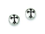 Sterling Silver Antiqued Fleur-de-lis Cross Earrings style: QE4787
