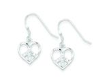 Sterling Silver Cubic Zirconia Heart Peace Sign Earrings style: QE4797