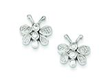 Sterling Silver Cubic Zirconia Butterfly Post Earrings style: QE4937
