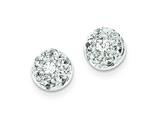 Sterling Silver Cubic Zirconia Half Ball Post Earrings style: QE4948